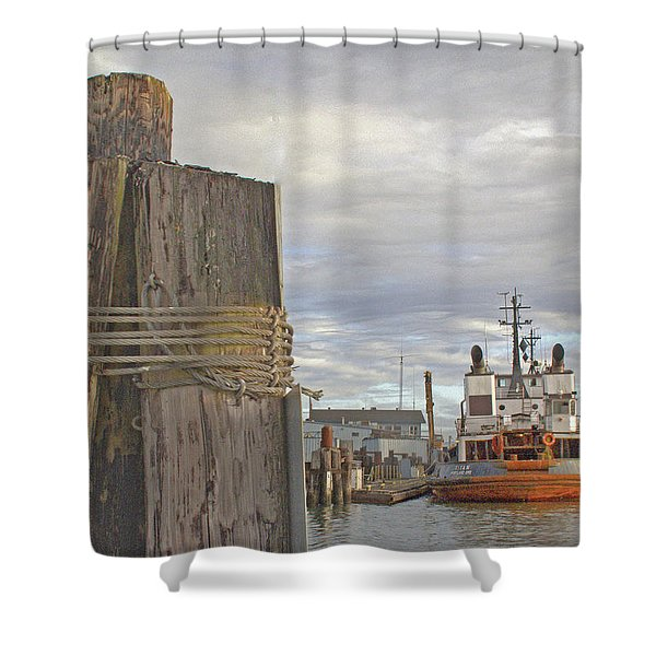 View From The Pilings Shower Curtain