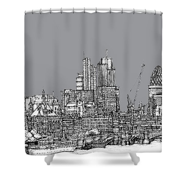 View From The Southbank With Summer In Cool Grey  Shower Curtain