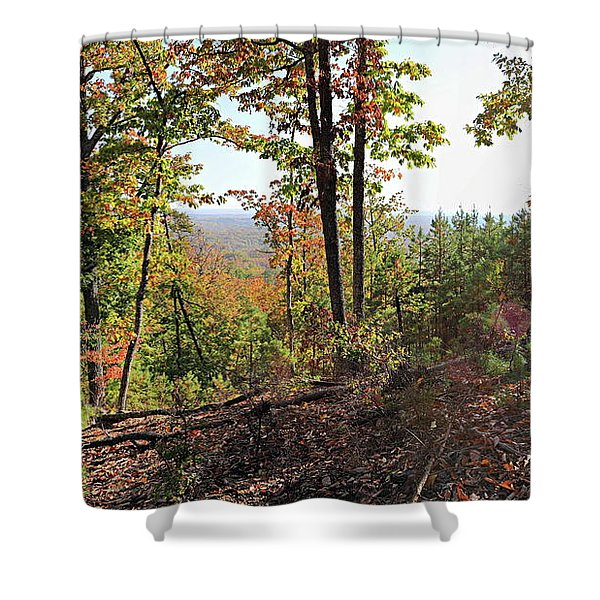 View From The Top Of Brown's Mountain Trail, Kings Mountain Stat Shower Curtain