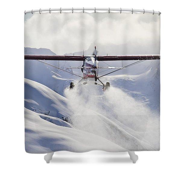 View Of A Super Cub Air Taxi At Tanaina Shower Curtain