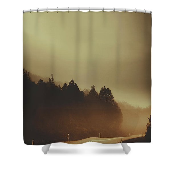 View Of Abandoned Country Road In Foggy Forest Shower Curtain