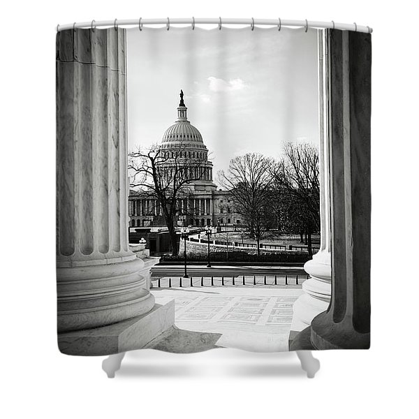 View Of Capitol Hill Through The Supreme Court Shower Curtain
