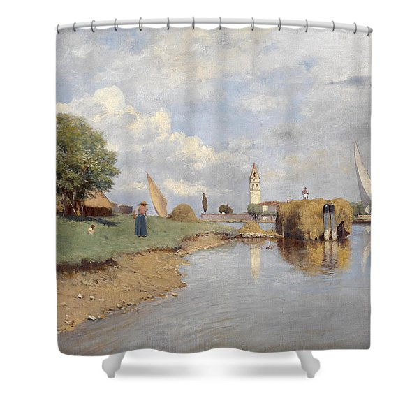 View Of The Church Santa Maria Valverde On The Island Of Mazzorbo Shower Curtain