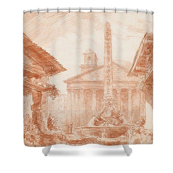 View Of The Piazza Della Rotonda In Rome With The Tritons Fountain And The Pantheon Facade Shower Curtain