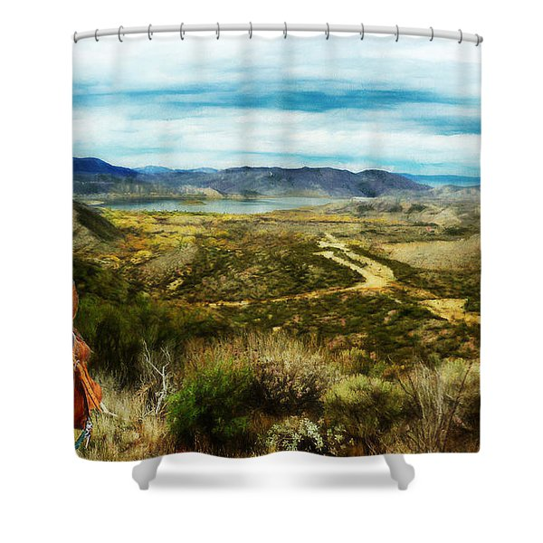 View Of Vail Lake On Horseback Shower Curtain
