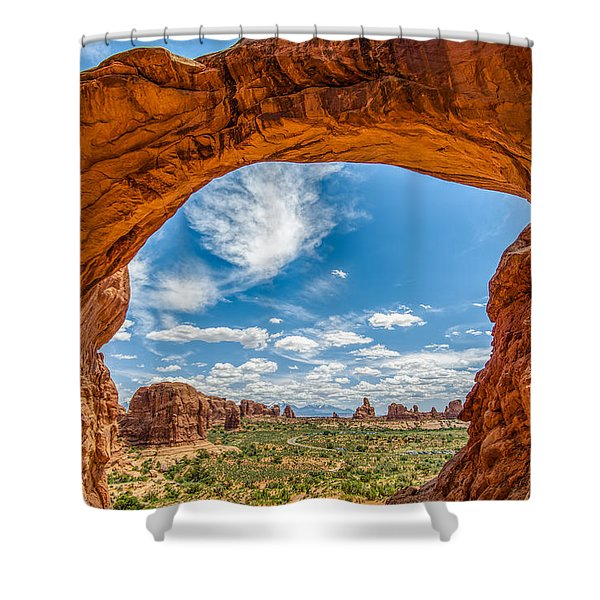 View Through Double Arch Shower Curtain