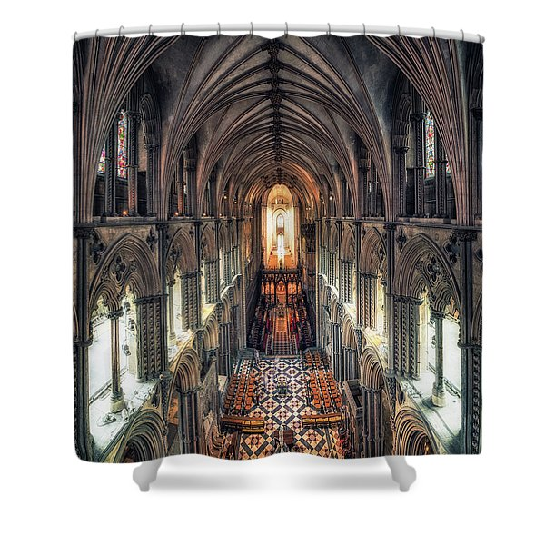 View Through Ely Cathedral Shower Curtain