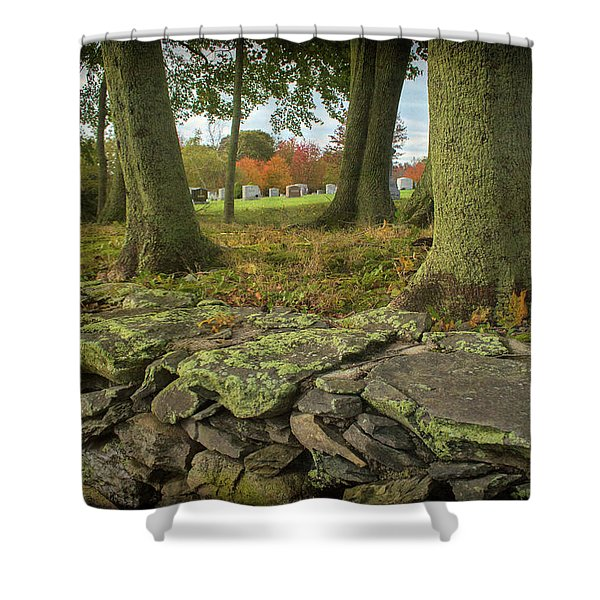 Shower Curtain featuring the photograph View Toward The Cemetery by Nancy De Flon