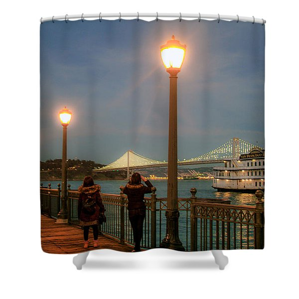 Viewing The Bay Bridge Lights Shower Curtain