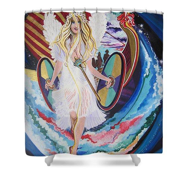 Blaa Kattproduksjoner   Welcomes Viking Goddess  To  Egypt Shower Curtain