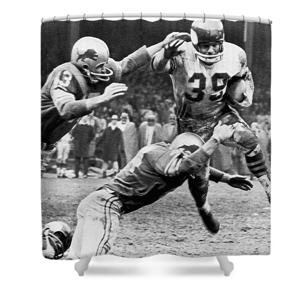 Viking Mcelhanny Gets Tackled Shower Curtain