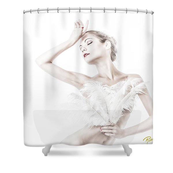 Viktory In White - Feathered Shower Curtain