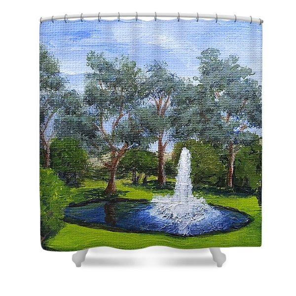 Village Fountain Shower Curtain