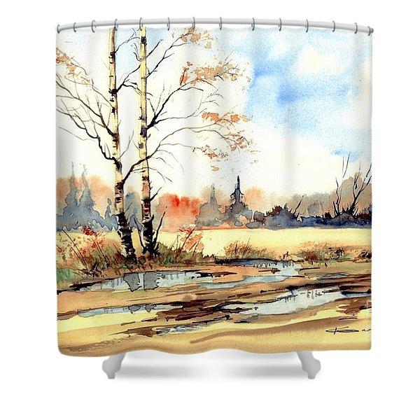 Village Scene I Shower Curtain