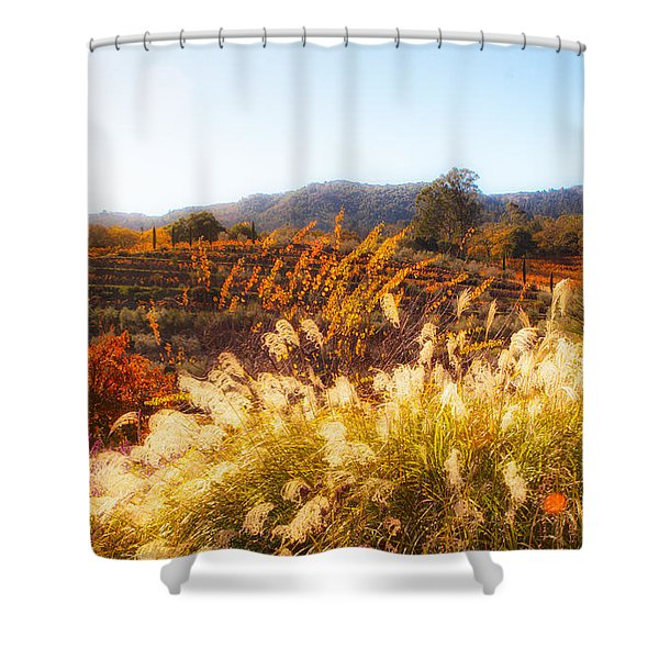 Shower Curtain featuring the photograph Vineyard Afternoon By Mike-hope by Michael Hope