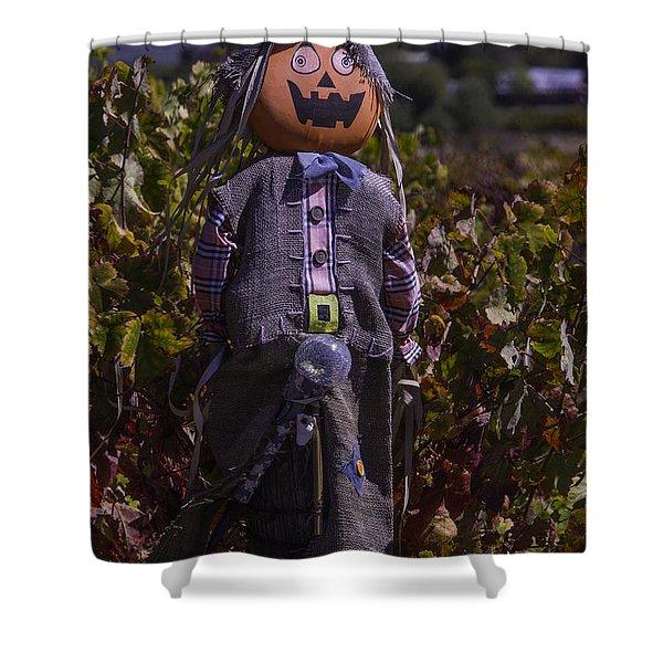 Vineyard Scarecrow Shower Curtain