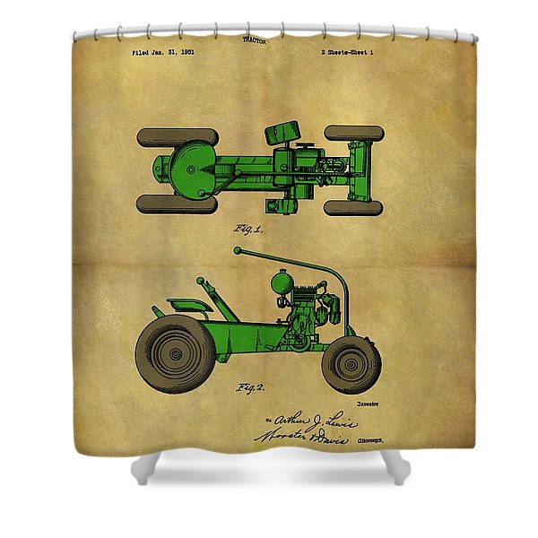 Vintage 1953 Green Tractor Patent Shower Curtain