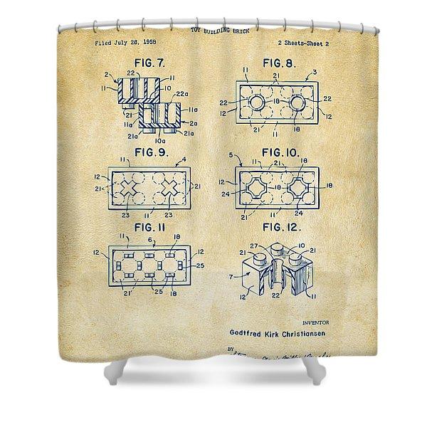 Vintage 1961 Lego Brick Patent Art Shower Curtain