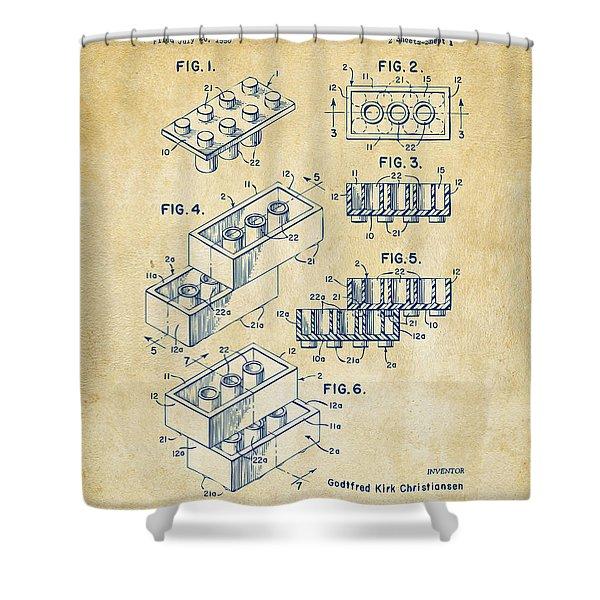 Vintage 1961 Toy Building Brick Patent Art Shower Curtain
