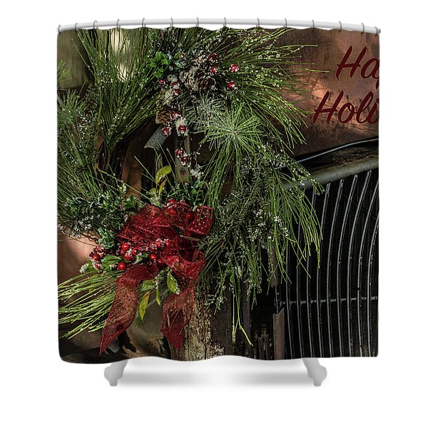 Vintage 40 Ford Truck Christmas Shower Curtain