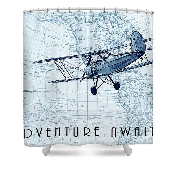 Vintage Adventure - Blue Shower Curtain