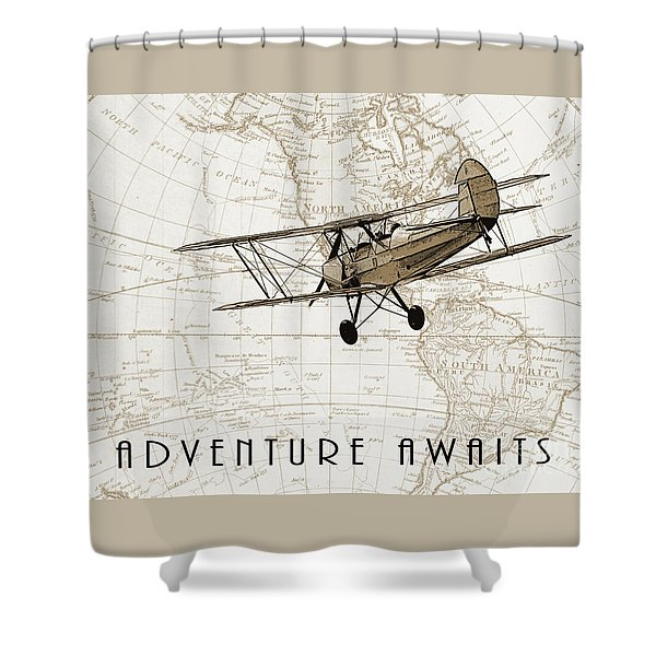 Vintage Adventure Shower Curtain