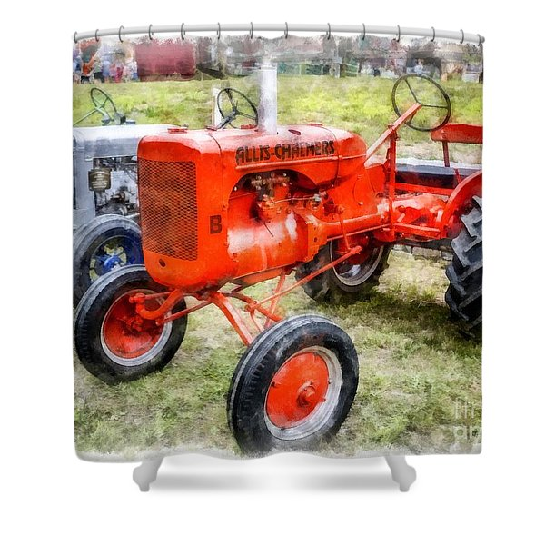 Vintage Allis-chalmers Tractor Watercolor Shower Curtain