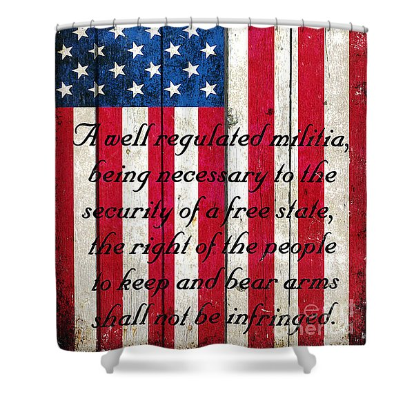 Vintage American Flag And 2nd Amendment On Old Wood Planks Shower Curtain