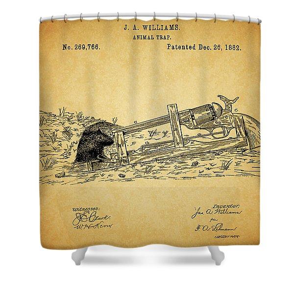 Vintage Animal Trap Patent Shower Curtain