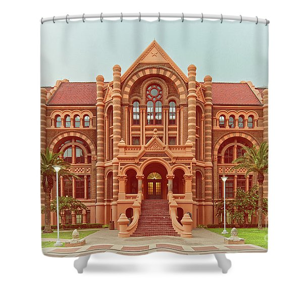 Vintage Architectural Photograph Of Ashbel Smith Old Red Building At Utmb - Downtown Galveston Texas Shower Curtain