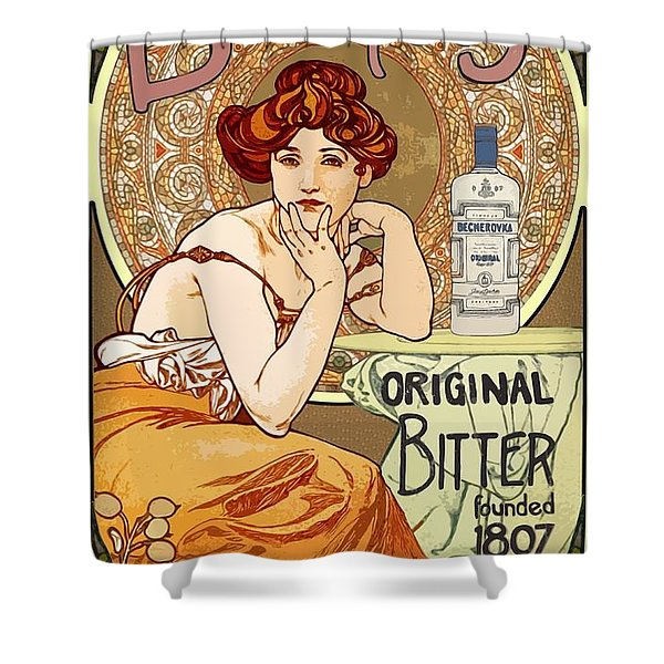 Vintage Art Nouveau Bechers Original Bitter 1807 Shower Curtain