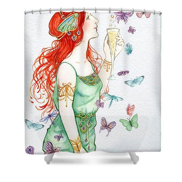 Vintage Art Nouveau Lady Party Time Shower Curtain