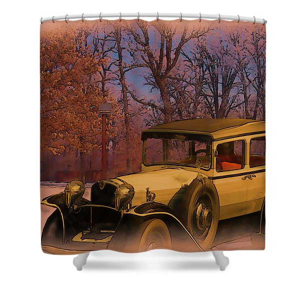 Shower Curtain featuring the digital art Vintage Auto In Winter by Tristan Armstrong