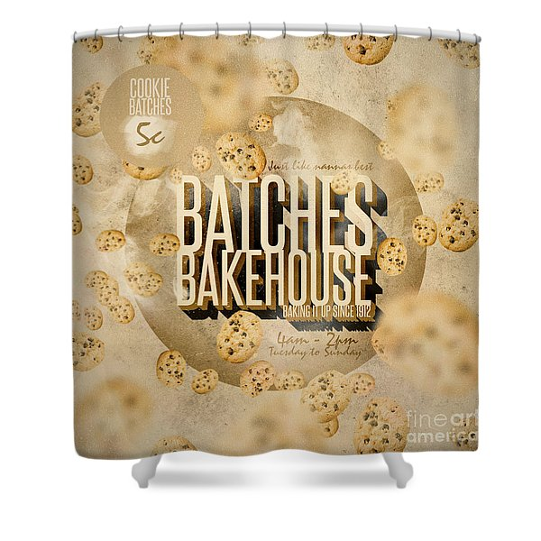 Vintage Bakery Ad - Batches Bakehouse Shower Curtain