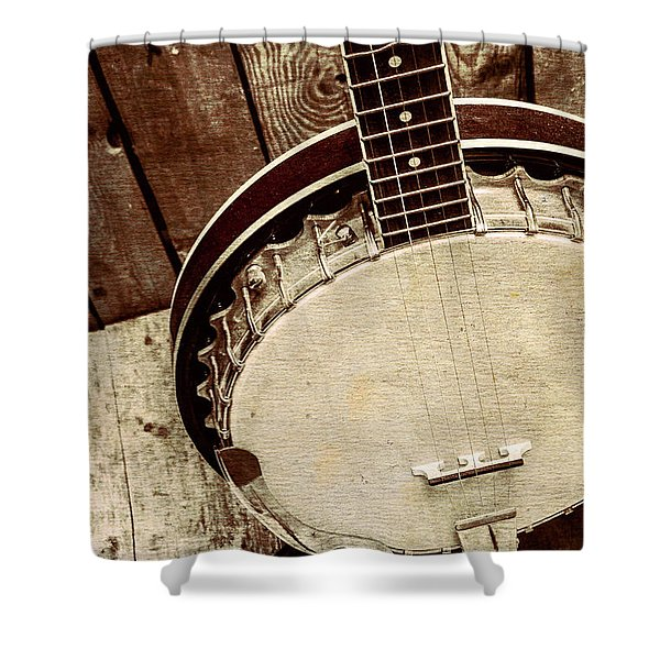Vintage Banjo Barn Dance Shower Curtain