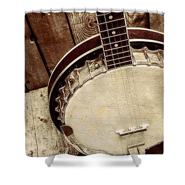 Vintage Banjo Barn Dance Shower Curtain