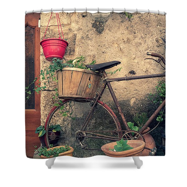 Vintage Bicycle Used As A Flower Pot, Provence Shower Curtain