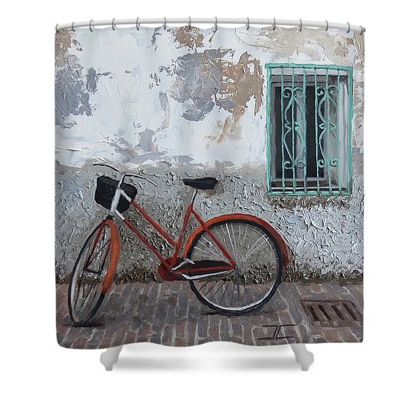 Vintage Series #3 Bike Shower Curtain