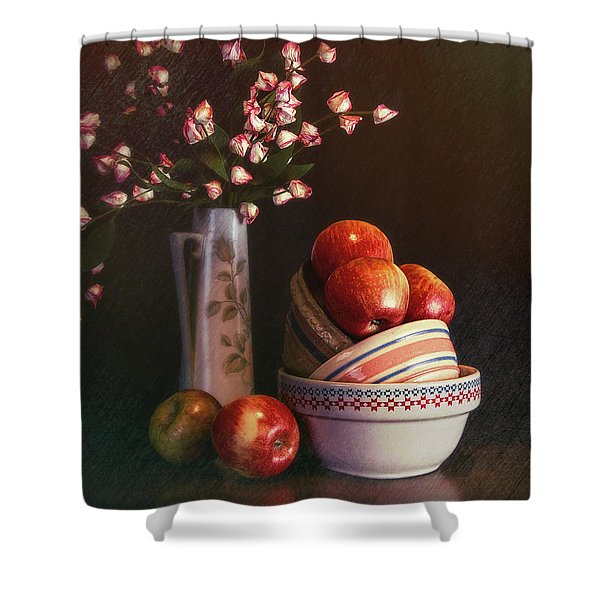 Vintage Bowls With Apples Shower Curtain