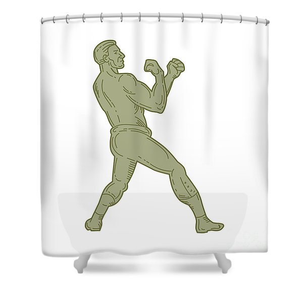 Vintage Boxer Fighting Stance Mono Line Shower Curtain