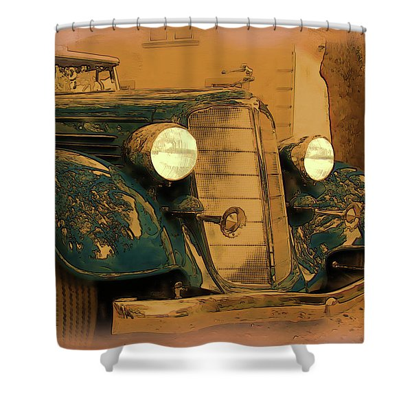 Shower Curtain featuring the digital art Vintage Buick by Tristan Armstrong