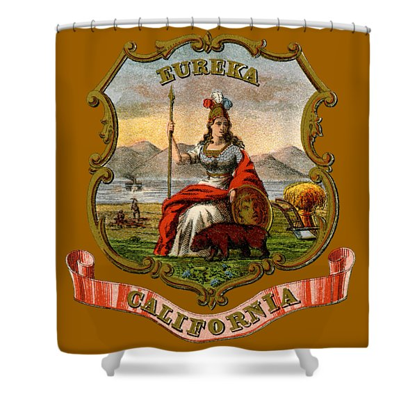 Vintage California Coat Of Arms Shower Curtain