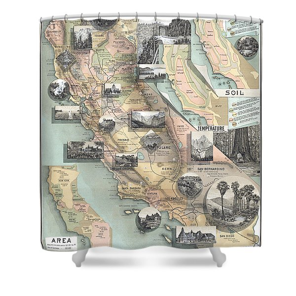 Vintage California Map Shower Curtain