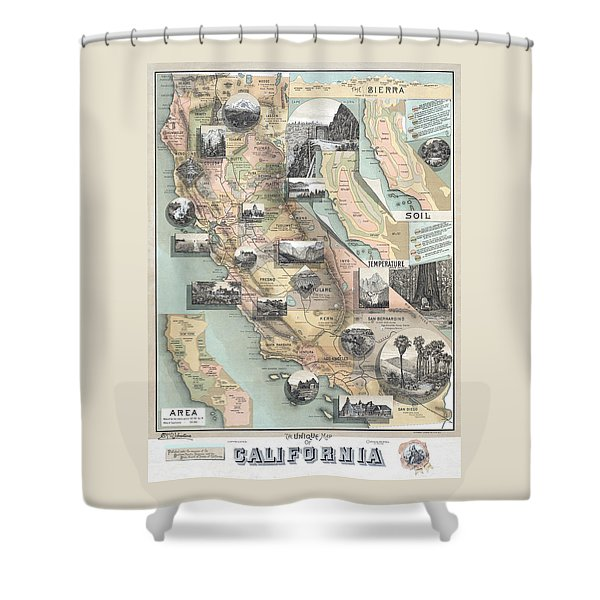 Vintage California Map Shower Curtain