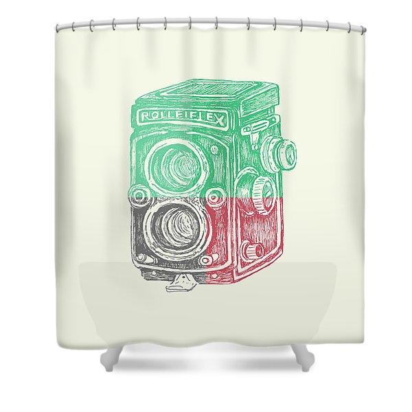 Vintage Camera Color Shower Curtain