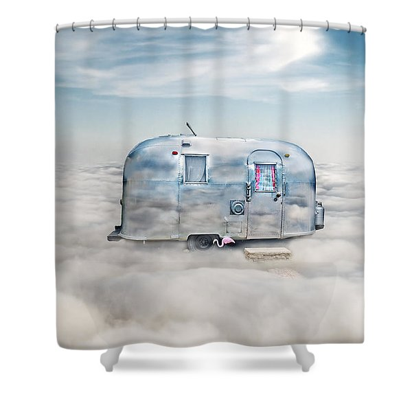 Vintage Camping Trailer In The Clouds Shower Curtain