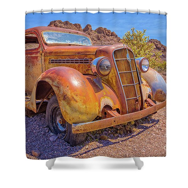 Vintage Car In The Desert Hdr Shower Curtain