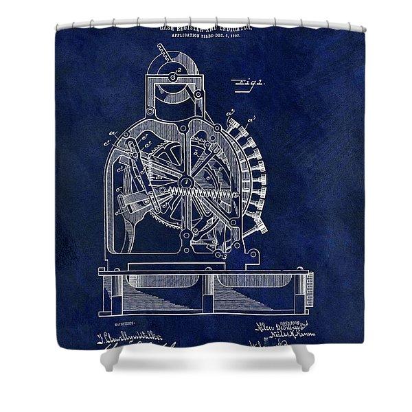 Vintage Cash Register Patent Shower Curtain