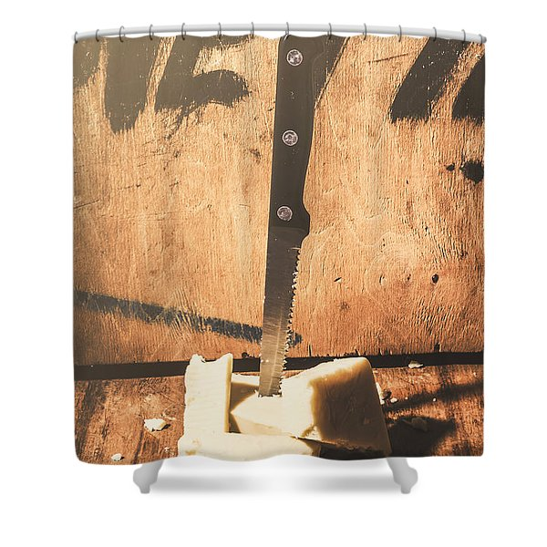 Vintage Cheese Crumble Shower Curtain