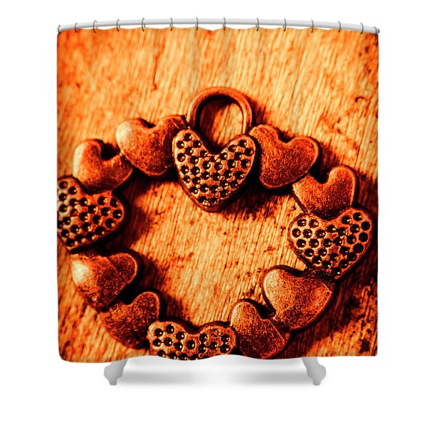 Vintage Circle Of Hearts Shower Curtain